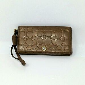 Coach brown signature wristlet Purse Wallet